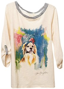 Anthropologie T Shirt Ivory and Multicolor