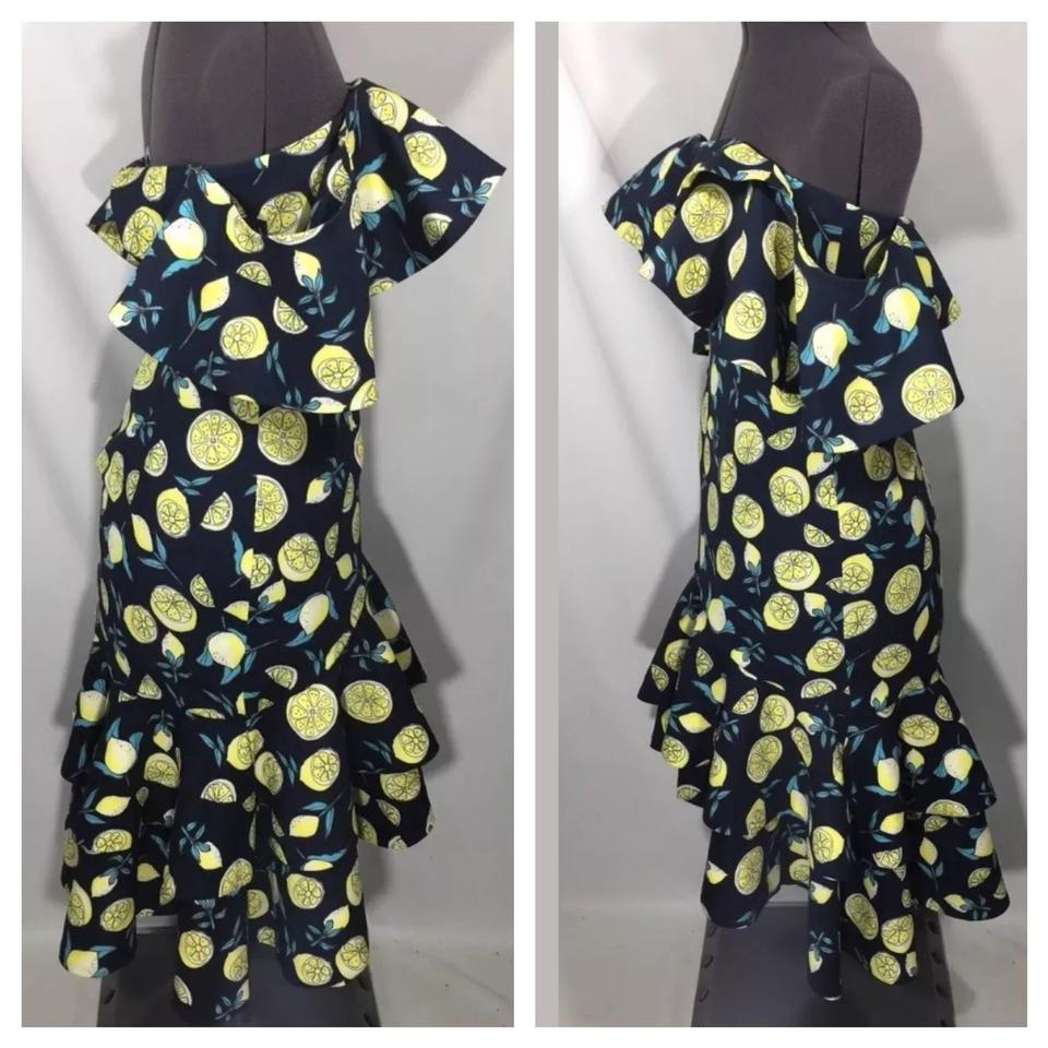 9ea07e5ab66 Fame and Partners Blue Yellow Sasha Mid-length Night Out Dress Size 6 (S)  45% off retail
