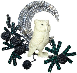Other Lawrence Vrba Owl Branch Moon Brooch Pin Signed Vintage Runway Couture