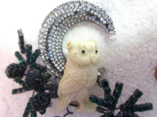 Other Lawrence Vrba Owl Branch Moon Brooch Pin Signed Vintage Runway Couture Image 1