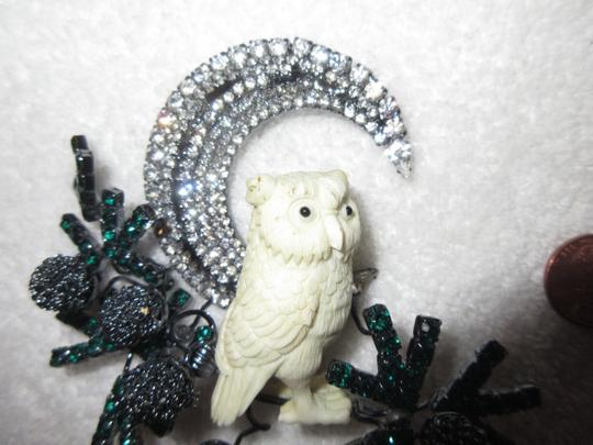 Other Lawrence Vrba Owl Branch Moon Brooch Pin Signed Vintage Runway Couture Image 3