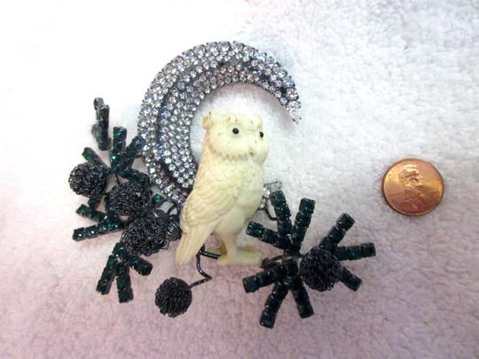 Other Lawrence Vrba Owl Branch Moon Brooch Pin Signed Vintage Runway Couture Image 7