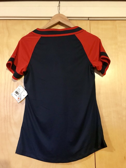 Majestic MLB Women's T Shirt Navy and Red Image 1