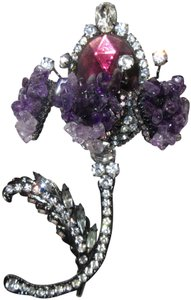 Other Lawrence Vrba Flower Brooch Pin Signed Vintage XL Couture