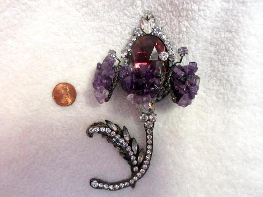 Other Lawrence Vrba Flower Brooch Pin Signed Vintage XL Couture Image 7