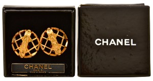 Chanel Chanel Matelasse Basketweave Gold Plated Earrings