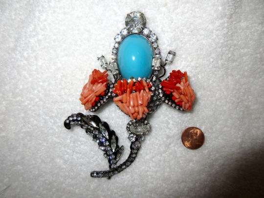 Other Vrba Cabochon Flower Brooch Pin Signed Vintage XL Couture Image 4