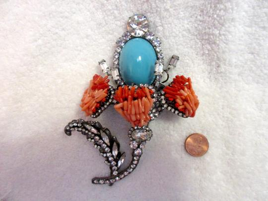 Other Vrba Cabochon Flower Brooch Pin Signed Vintage XL Couture Image 9