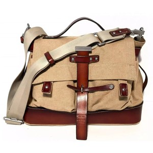 Lauren Ralph Lauren Natural and Brown Canvas Saddle Leather Messenger Bag 91f641841b9be