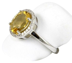 Other Oval Yellow Citrine & Diamond Solitaire Gem Ring 1.72Ct 14k White Gold