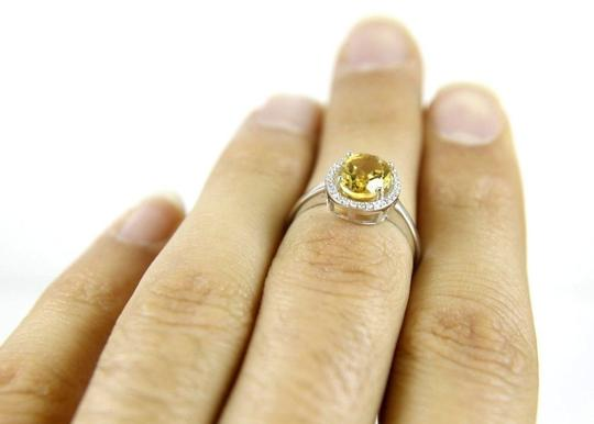 Other Oval Yellow Citrine & Diamond Solitaire Gem Ring 1.72Ct 14k White Gold Image 2