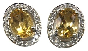 Other Oval Yellow Citrine & Diamond Halo Stud Earrings 14K White Gold .51Ct