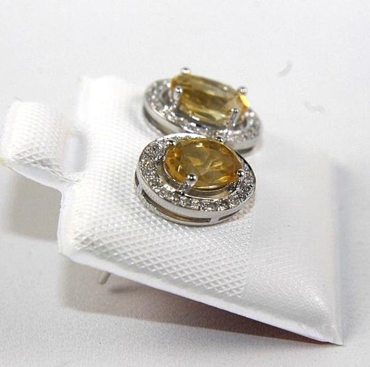 Other Oval Yellow Citrine & Diamond Halo Stud Earrings 14K White Gold .51Ct Image 1