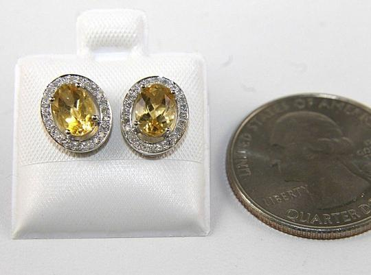 Other Oval Yellow Citrine & Diamond Halo Stud Earrings 14K White Gold .51Ct Image 2