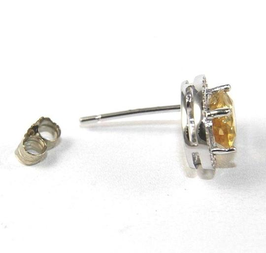 Other Oval Yellow Citrine & Diamond Halo Stud Earrings 14K White Gold .51Ct Image 3