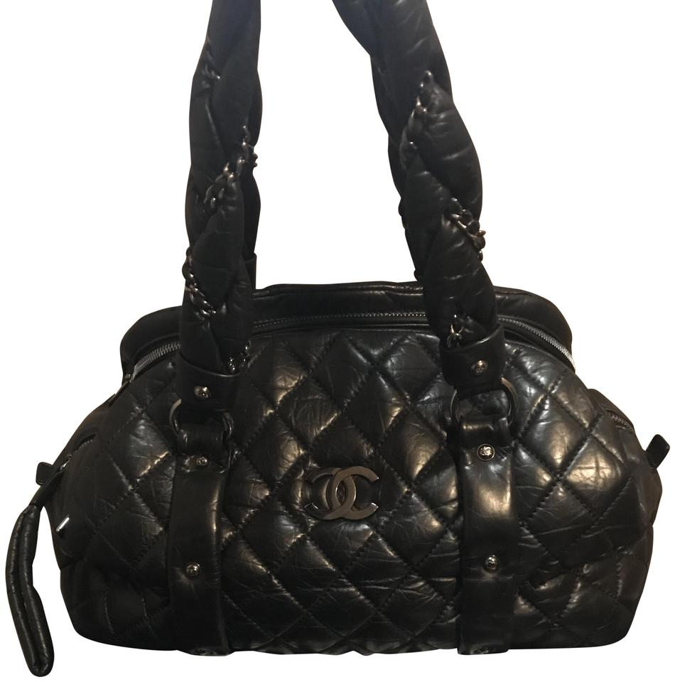 23d62f0b1545 Chanel Lady Braid Bowler - Distressed Quilted Black Lambskin Leather ...