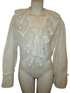 Raiment Fashions Inc. Vintage Cropped Ruffled Lace Up 001 Top white