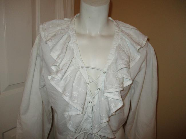 Raiment Fashions Inc. Vintage Cropped Ruffled Lace Up 001 Top white Image 1