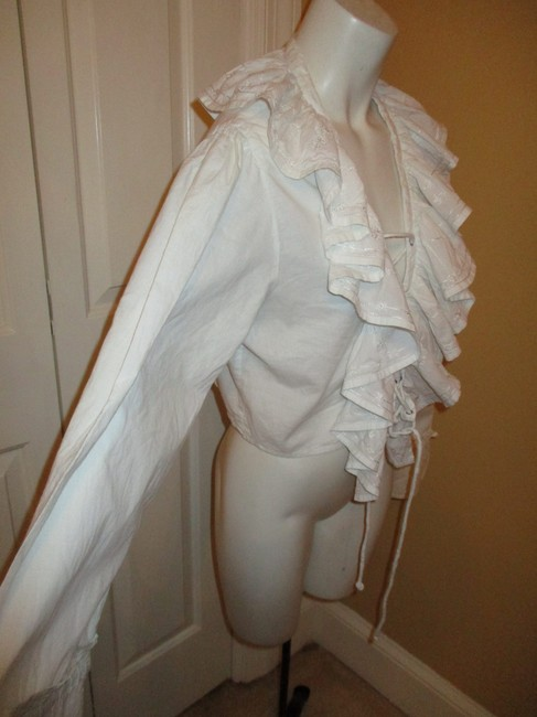Raiment Fashions Inc. Vintage Cropped Ruffled Lace Up 001 Top white Image 2