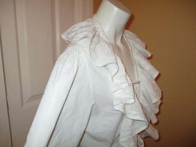 Raiment Fashions Inc. Vintage Cropped Ruffled Lace Up 001 Top white Image 3