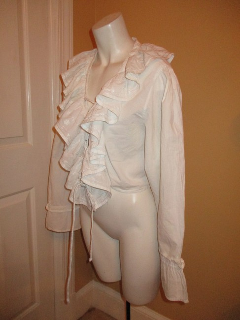 Raiment Fashions Inc. Vintage Cropped Ruffled Lace Up 001 Top white Image 5