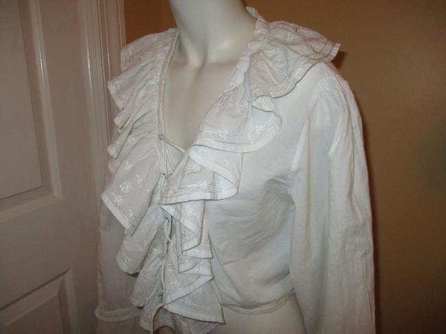 Raiment Fashions Inc. Vintage Cropped Ruffled Lace Up 001 Top white Image 6