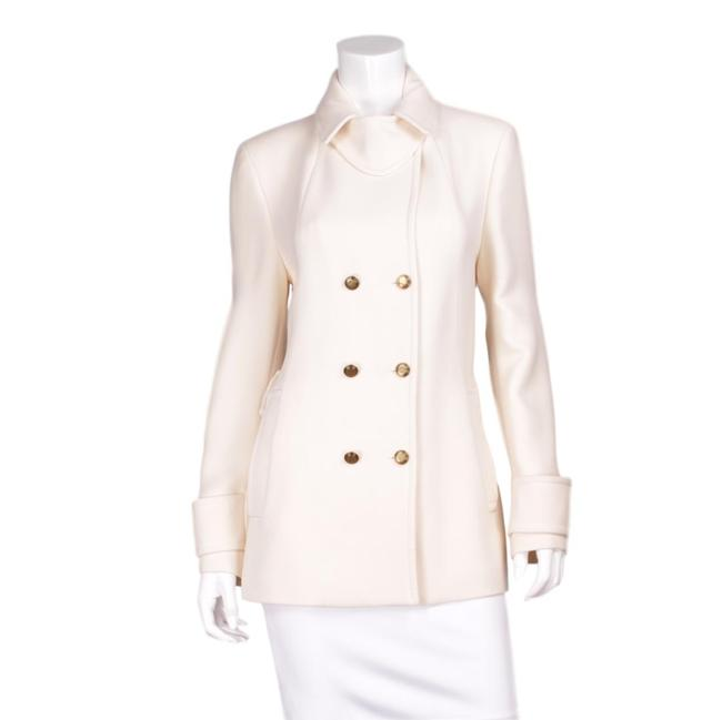 Item - Ivory Short Double-breasted Wool Notched Lapels & Gold Buttons - Us Coat Size 10 (M)