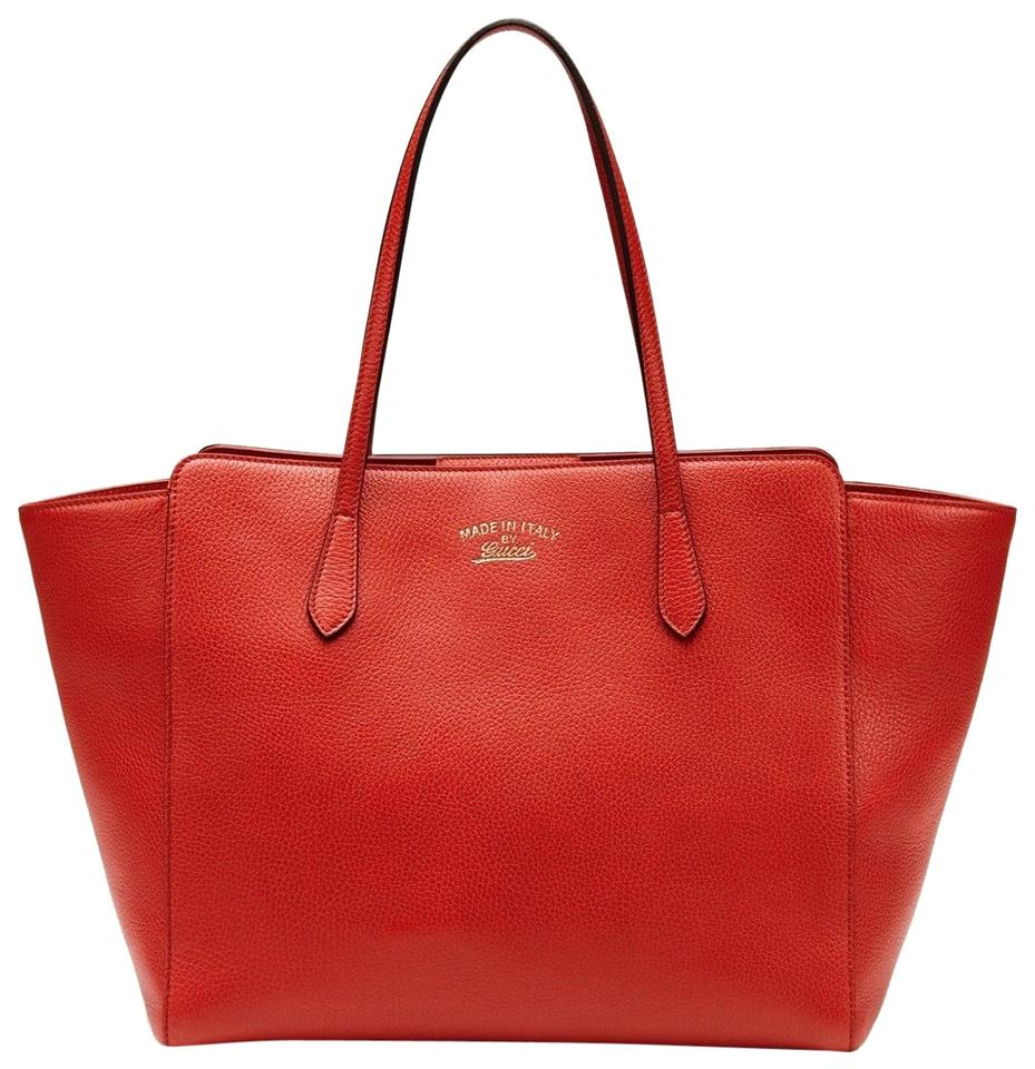 54864335e025 Gucci Swing Womens Medium Purse Tote Red Leather Shoulder Bag - Tradesy