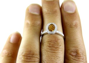 Other Oval Orange Citrine Gem & Diamond Solitaire Ring 14k White Gold 1.26Ct