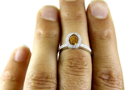 Other Oval Orange Citrine Gem & Diamond Solitaire Ring 14k White Gold 1.26Ct Image 1