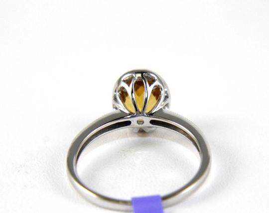 Other Oval Orange Citrine Gem & Diamond Solitaire Ring 14k White Gold 1.26Ct Image 2
