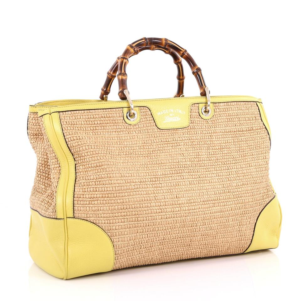 4fa44a03eafe Gucci Bamboo Shopper Straw Large Brown and Yellow Leather Tote - Tradesy