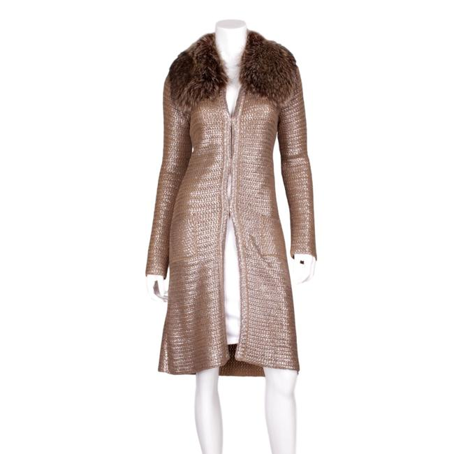 Item - Gold Wool Knit Brown Racoon Collar - Us Coat Size 6 (S)