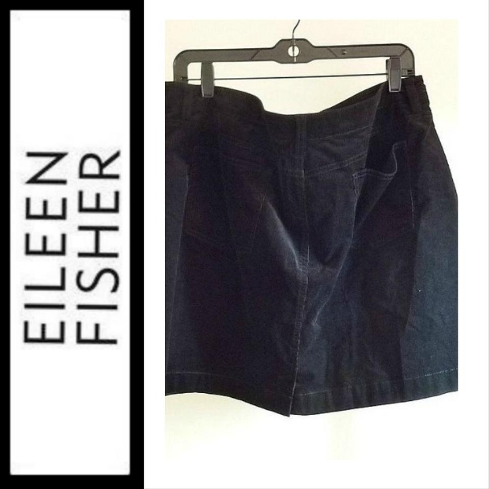 Eileen Fisher Superfine Stretch Corduroy Short Straight Skirt  Black NWT $178