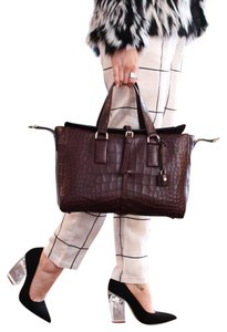 Mulberry Crocodile Leather Embossed Tote in Oxblood