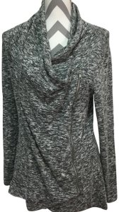Le Lis Heather And Whtie Asymmetrical Sweater