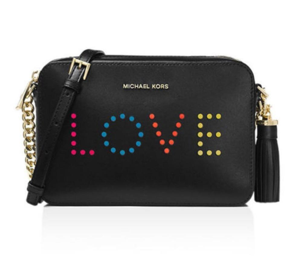 4b0b4c9c4a88 Michael Kors Camera Ginny Medium Tassel Love Black Leather Cross ...