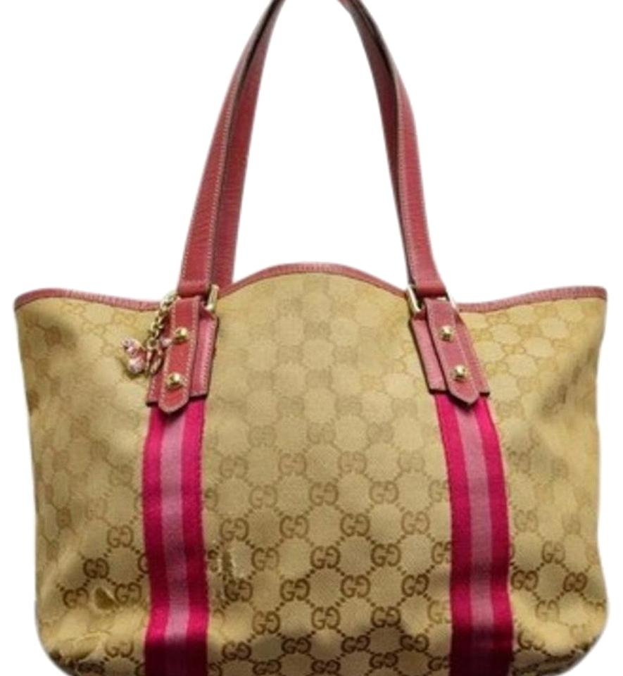 590cc04f897 Gucci Charm Monogram Brown Pink Canvas Leather Tote - Tradesy