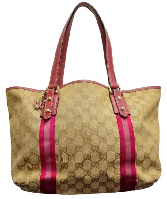 Gucci Charm Monogram Brown/Pink Canvas/Leather Tote Gucci Charm Monogram Brown/Pink Canvas/Leather Tote Image 1