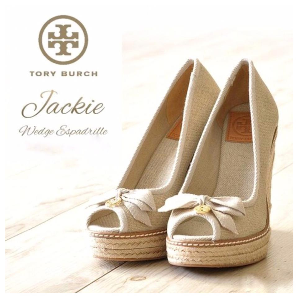32451cbfcc77 Tory Burch Natural Jackie Linen Espadrilles Wedges Size US 8 Regular ...