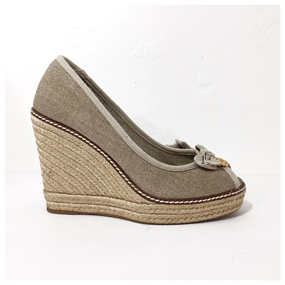 dc25a8b5f708 Tory Burch Natural Jackie Linen Espadrilles Wedges Size US 8 Regular ...