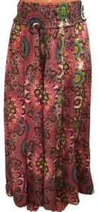 Just Funky Medallion Wide Leg Pants Green Pink, Blue, White, Etc. Etc.
