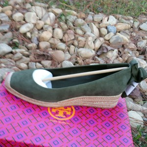 Tory Burch Suede Open Toe Leaf Green Wedges
