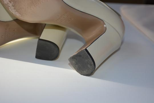 Valentino Leather Patent Chunky 100mm True Us 7.5 Light Ivory Pumps