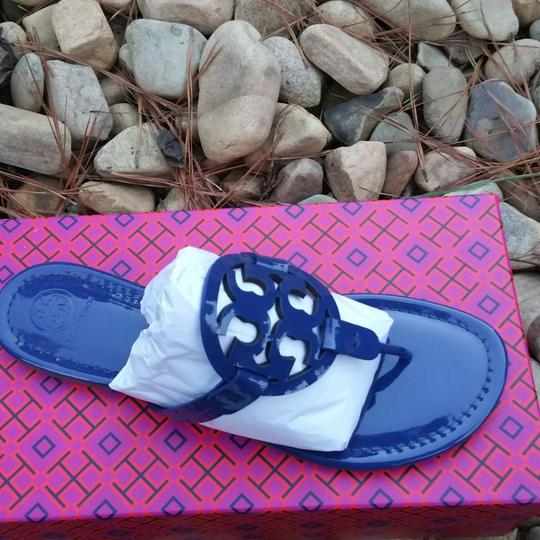 Tory Burch Miller Miller Flat Patent Leather Blue Sandals