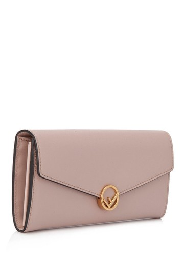 Fendi Fendi F Is Fendi Long Flap Wallet Beige Calfskin Leather