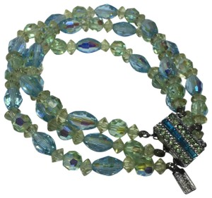 Vendome Vintage blue & green Crystal beaded Multi Strand Bracelet