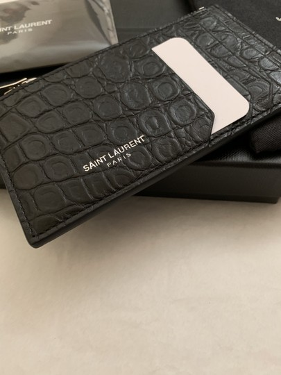 Saint Laurent Croc Embossed Fragments Zip Card Case