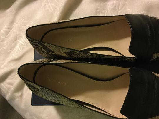 Cole Haan Roccia Snakeskin And Skimmer Pointy Toe Two Tone Skimmer Snake/Black Flats