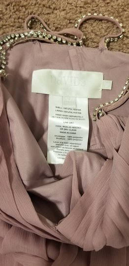 David's Bridal Light Pink Chiffon Long with Beaded Straps Feminine Bridesmaid/Mob Dress Size 2 (XS)
